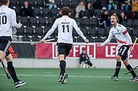 AMSTELVEEN -   Boris Burkhardt (Adam) scoort    ,tijdens de hoofdklasse hockeywedstrijd Amsterdam-HC Rotterdam (7-1).  rechts Billy Bakker (Adam) .  COPYRIGHT KOEN SUYK