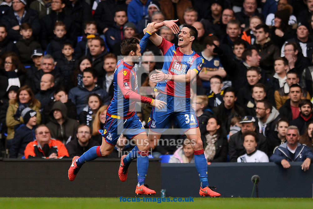 Martin Kelly of Crystal Palace (right) celebrates scoring his sides first goal to make the scoreline 1-0 with Yohan Cabaye of Crystal Palace (left) during the FA Cup match between Tottenham Hotspur and Crystal Palace at White Hart Lane, London<br /> Picture by Richard Blaxall/Focus Images Ltd +44 7853 364624<br /> 21/02/2016