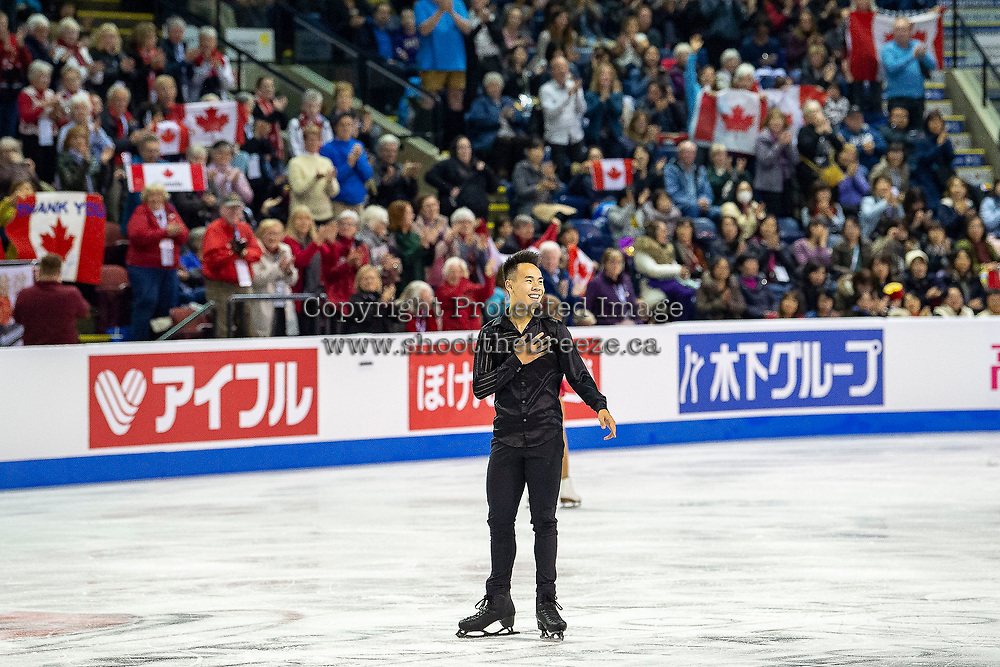 KELOWNA, BC - OCTOBER 25:  Canadian figure skater, Nam Nguyen gets a show of support from fans after he competes in the men's short program at Skate Canada International held at Prospera Place on October 25, 2019 in Kelowna, Canada. (Photo by Marissa Baecker/Shoot the Breeze)