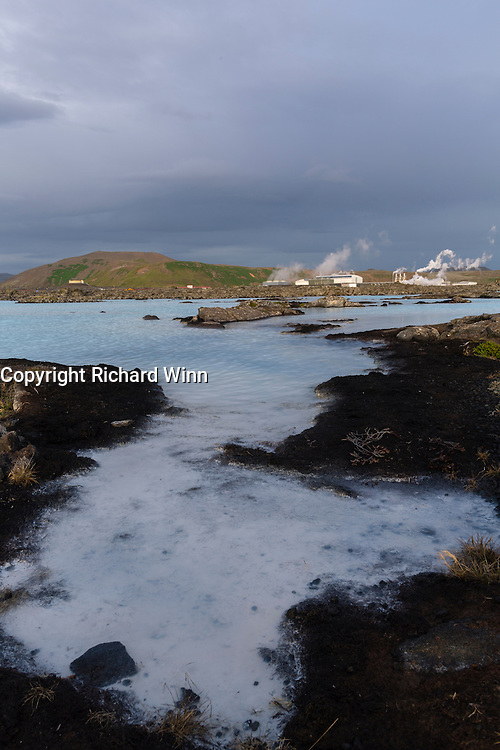 Landscape around the Blue Lagoon, in the southwest of Iceland, near to the capital, Reykjavikm with volcanic rocks and geothermal pools.