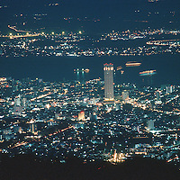 Georgetown at night from the summit of Penang Hill (700 metres above sea level)..Location : Penang, Malaysia...Photo: Ahmad Yusni