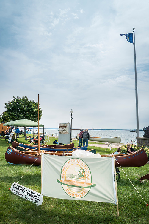 Wooden canoe show during Harbor Fest in downtown Marquette, Michigan.