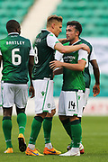 *CORR) Stevie Mallan (#14) of Hibernian celebrates Hibernian's sixth goal (6-1) with Vykintas Slivka (#8) of Hibernian during the Europa League match between Hibernian and NSÍ Runavik at Easter Road, Edinburgh, Scotland on 12 July 2018. Picture by Craig Doyle.