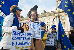 London, UK. 29 January, 2020. Pro-EU activists from SODEM (Stand of Defiance European Movement) protest in Parliament Square on the day on which MEPs were to formally approve the Brexit Withdrawal Agreement.