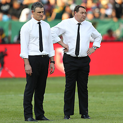 PRETORIA, SOUTH AFRICA - OCTOBER 06: Scott McLeod (Assistant Defence Coach) of the New Zealand (All Blacks) with Steve Hansen (Head Coach) of the New Zealand (All Blacks) during the Rugby Championship match between South Africa Springboks and New Zealand All Blacks at Loftus Versfeld Stadium. on October 6, 2018 in Pretoria, South Africa. (Photo by Steve Haag/Getty Images)