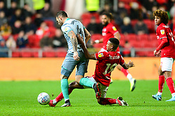 Niclas Eliasson of Bristol City tackles Bradley Johnson of Blackburn Rovers - Mandatory by-line: Dougie Allward/JMP - 14/12/2019 - FOOTBALL - Ashton Gate - Bristol, England - Bristol City v Blackburn Rovers - Sky Bet Championship