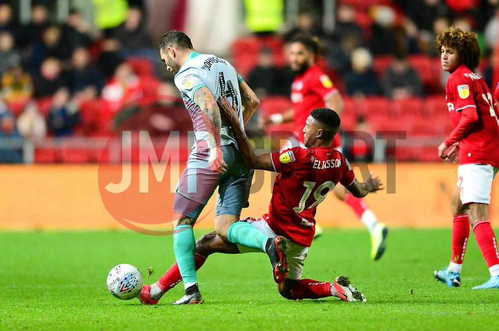 Niclas Eliasson of Bristol City tackles Bradley Johnson of Blackburn Rovers - Mandatory by-line: Dougie Allward/JMP - 14/12/2019 - FOOTBALL - Ashton Gate - Bristol, England - Bristol City v Blackburn Rovers - Sky Bet Championship