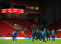 Swansea City players gather on the pitch on arrival at Anfield - Mandatory by-line: Matt McNulty/JMP - 26/12/2017 - FOOTBALL - Anfield - Liverpool, England - Liverpool v Swansea City - Premier League