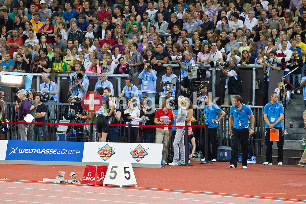 A general view to the mixed zone and the photo head on zone during the IAAF Diamond League meeting at the Letzigrund Stadium in Zurich, Switzerland, Thursday, Aug. 19, 2010. (Photo by Patrick B. Kraemer / MAGICPBK)