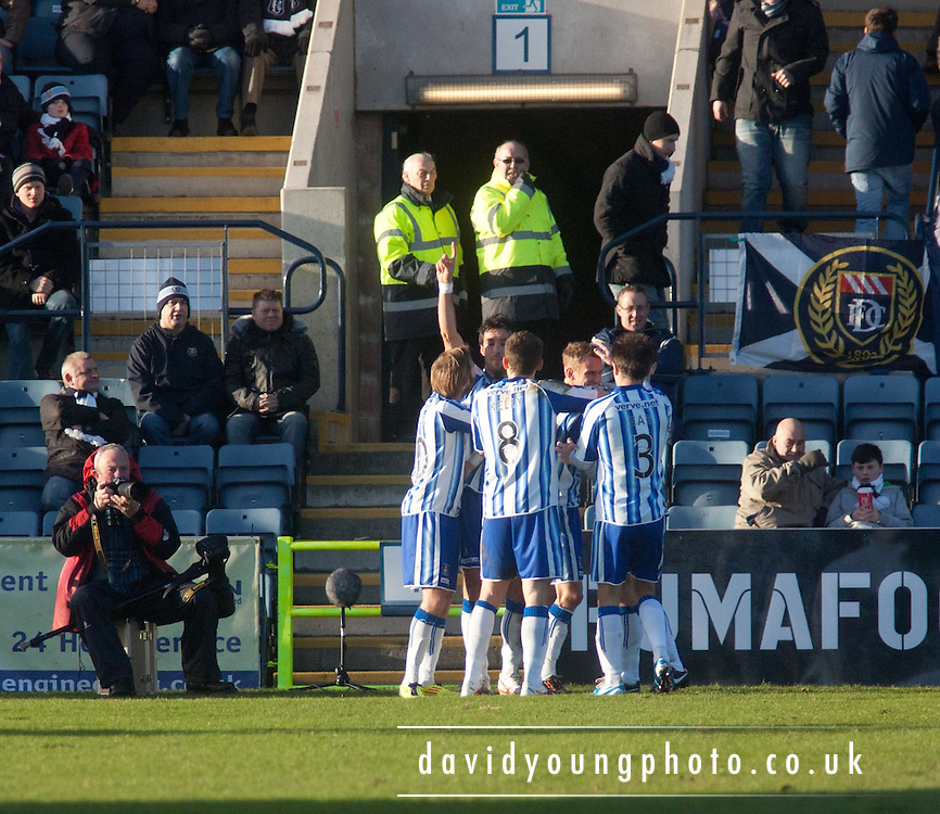 Kilmarnock's Mauel Pascali is congratulated after scoring - Dundee v Kilmarnock, William Hill Scottish FA Cup 4th Round,..- © David Young - .5 Foundry Place - .Monifieth - .DD5 4BB - .Telephone 07765 252616 - .email; davidyoungphoto@gmail.com - .web; www.davidyoungphoto.co.uk.