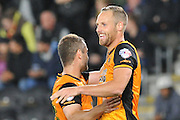 David Meyler  celebrates his goal with Shaun Maloney during the Capital One Cup match between Hull City and Swansea City at the KC Stadium, Kingston upon Hull, England on 22 September 2015. Photo by Ian Lyall.