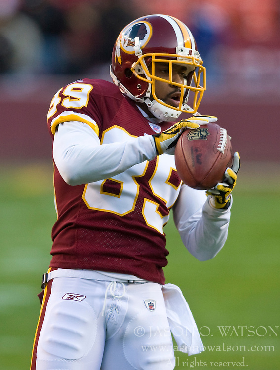 Washington Redskins wide receiver Santana Moss (89).  The Washington Redskins defeated the Philadelphia Eagles 10-3 in an NFL football game held at Fedex Field in Landover, Maryland on Sunday, December 21, 2008.