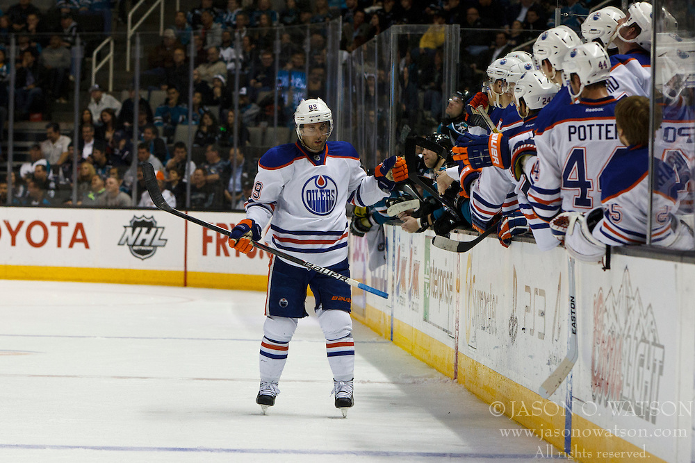 Mar 6, 2012; San Jose, CA, USA; Edmonton Oilers center Sam Gagner (89) is congratulated by teammates after scoring the game winning goal against the San Jose Sharks during shootouts at HP Pavilion. Edmonton defeated San Jose 3-2 in shootouts. Mandatory Credit: Jason O. Watson-US PRESSWIRE