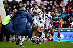 Nathan Hughes of Bristol Bears celebrates with teammates after Piers O'Conor of Bristol Bears scores a try - Mandatory by-line: Robbie Stephenson/JMP - 04/01/2020 - RUGBY - Welford Road - Leicester, England - Leicester Tigers v Bristol Bears - Gallagher Premiership Rugby