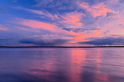 CLouds reflected in Waskesiuw Lake at sunset<br /> Prince Albert National Park<br /> Saskatchewan<br /> Canada