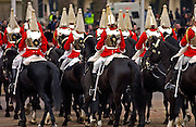 The Household Cavalry, the Life Guards (Lifeguards), parading in London.