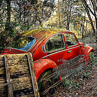Abandoned retro car in USA
