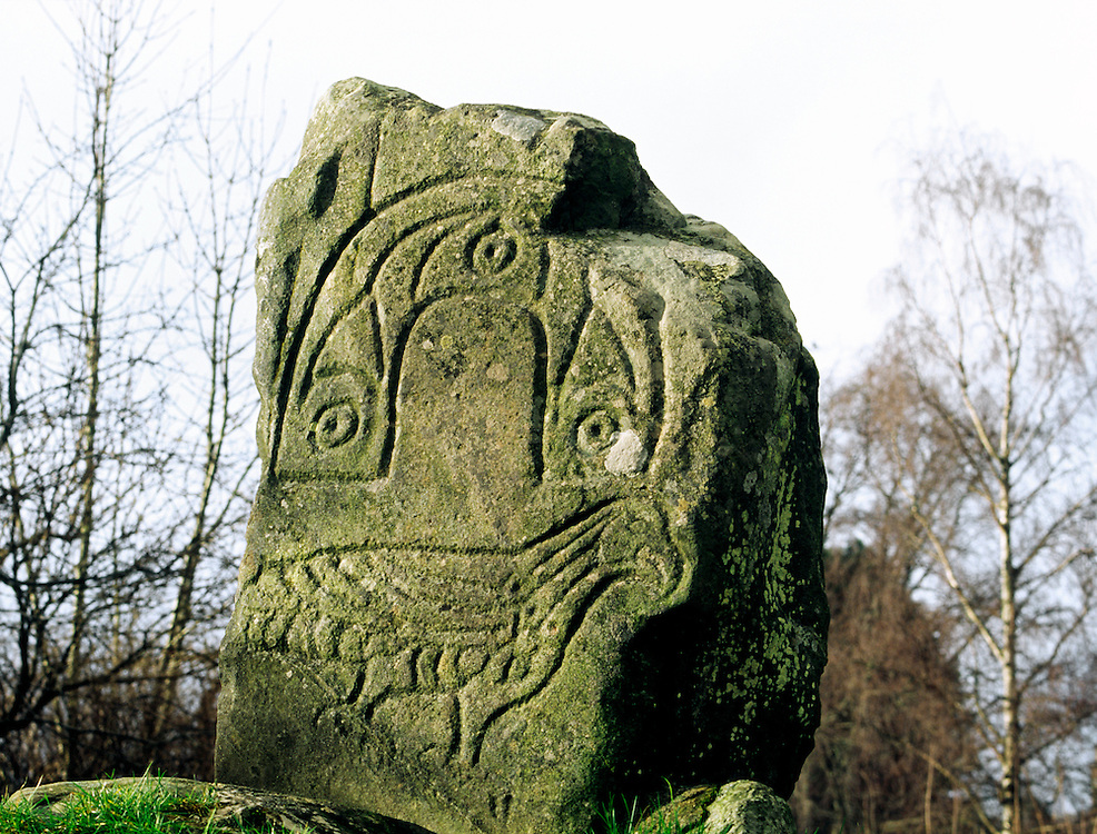 Eagle bird motif carved on Pictish monument known as the Eagle Stone at Strathpeffer, Cromarty, Highland region, Scotland.