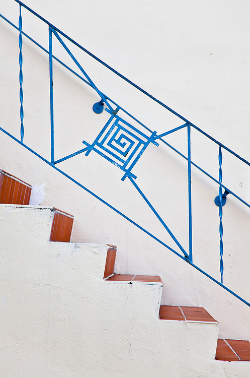 MiMo stair railing on a small apartment building in Miami Beach's historic Art Deco District of South Beach