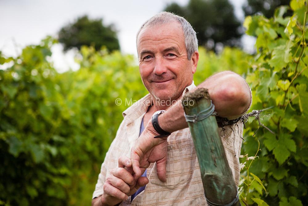 Peio Espil on the vineyards at Domaine Ilarria in Irouleguy.