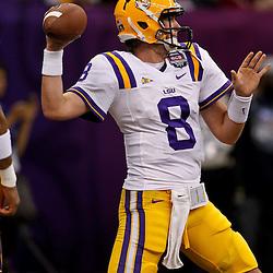 Jan 9, 2012; New Orleans, LA, USA; LSU Tigers quarterback Zach Mettenberger (8) against the Alabama Crimson Tide before the 2012 BCS National Championship game at the Mercedes-Benz Superdome.  Mandatory Credit: Derick E. Hingle-US PRESSWIRE
