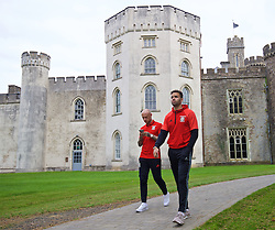 CARDIFF, WALES - Friday, October 7, 2016: Wales' Hal Robson-Kanu strolls past Hensol Castle during a team walk at the Vale Resort ahead of the 2018 FIFA World Cup Qualifying Group D match against Georgia. (Pic by David Rawcliffe/Propaganda)