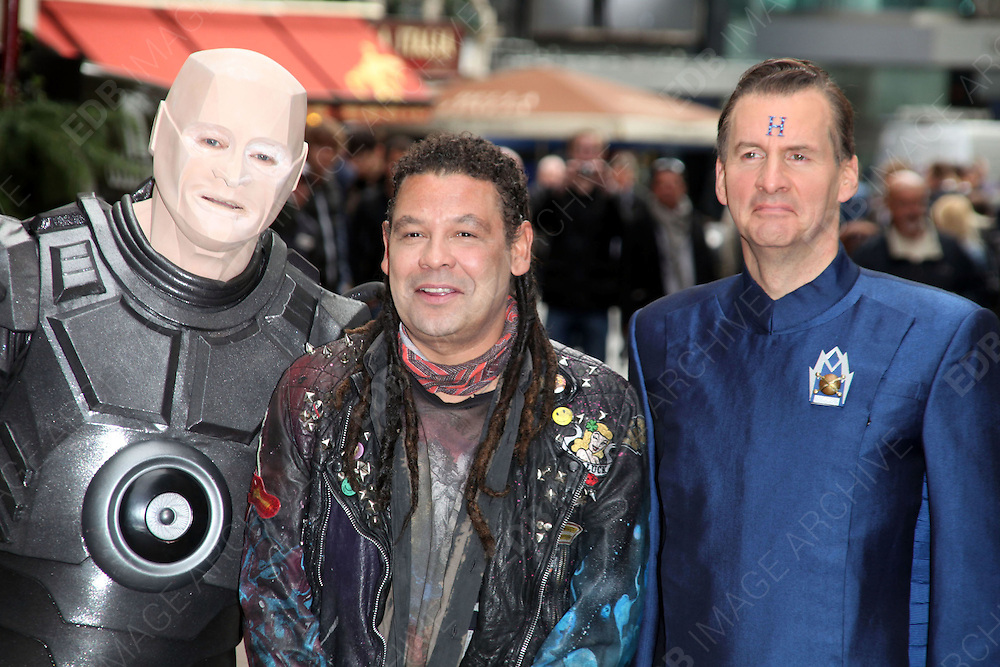 03.OCTOBER.2012. LONDON<br /> <br /> CRAIG CHARLES, ROBERT LLEWELLYN AND CHRIS BARRIE AT THE LAUNCH OF RED DWARF X, LONDON<br /> <br /> BYLINE: EDBIMAGEARCHIVE.CO.UK<br /> <br /> *THIS IMAGE IS STRICTLY FOR UK NEWSPAPERS AND MAGAZINES ONLY*<br /> *FOR WORLD WIDE SALES AND WEB USE PLEASE CONTACT EDBIMAGEARCHIVE - 0208 954 5968*