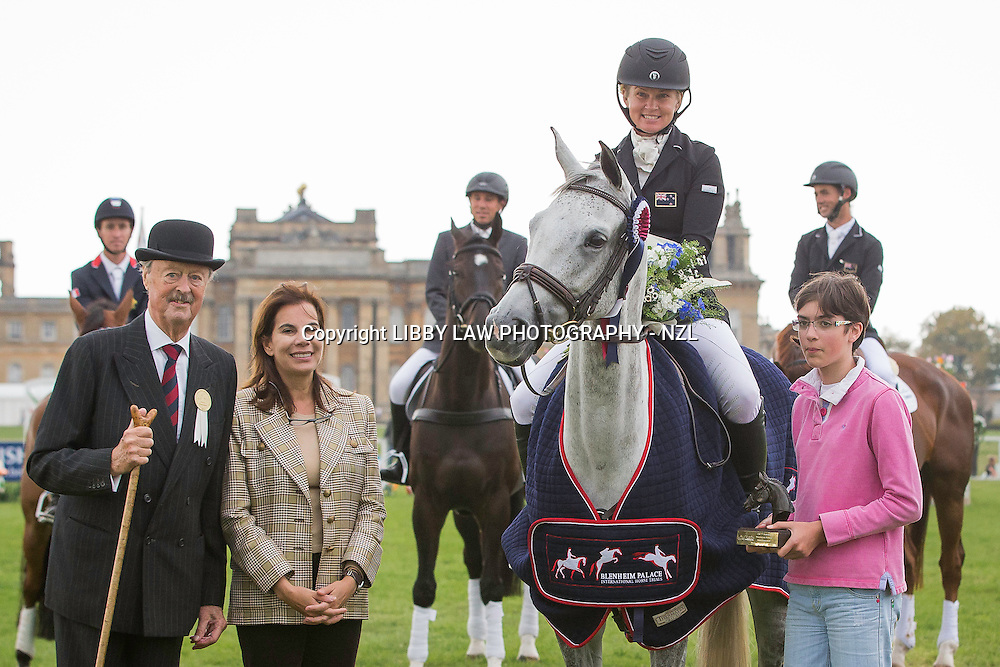 2014 TITLE WINNER: NZL-Jonelle Price (FAERIE DIANIMO) FINAL-1ST: CIC3* 8&9YO: PRIZEGIVING: 2014 GBR-Blenheim Palace International Horse Trial (Sunday 14 September) CREDIT: Libby Law COPYRIGHT: LIBBY LAW PHOTOGRAPHY - NZL