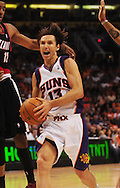 Apr 26, 2010; Phoenix, AZ, USA; Phoenix Suns guard Steve Nash (13) during the first quarter in game five in the first round of the 2010 NBA playoffs at the US Airways Arena.  The Suns defeated the Trail Blazers 107-88.  Mandatory Credit: Jennifer Stewart-US PRESSWIRE