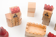 Cutout of wooden castle blocks on white background