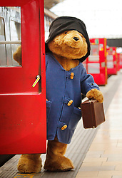 © under license to London News Pictures. 15/01/2011. Paddington Bear sets off from Paddington Station on a national tour ahead of February's marmalade festival in Cumbria. He will highlight Robertson's research that than 16 per cent of Briton's buy breakfast on the move, costing them collectively £8m per day during the working week. Photo credit should read: Olivia Harris/ London News Pictures