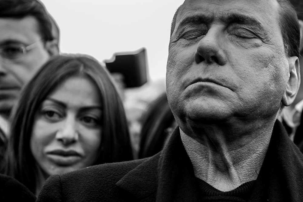 Arcore, Italy - 04-04-2016: Former prime minister of Italy and President of the political party 'Forza Italia', Silvio Berlusconi closes his eyes during the opening ceremony of a pedestrian-bicycle lane.