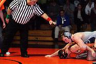 Fairmont senior Tommy Kimbrell (grey) takes on Beavercreek junior Nick Corba (orange) at Beavercreek High School, Thursday, January 5, 2012.