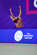Katrin Taseva during the qualification of clubs at the Pesaro World Cup 2018. Katrin  is a Bulgarian gymnast born in Samokov on November 24, 1997. She is a member of the Bulgarian National team since 2010.