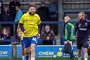 AFC Wimbledon midfielder Anthony Wordsworth (40) warming up during the EFL Sky Bet League 1 match between AFC Wimbledon and Accrington Stanley at the Cherry Red Records Stadium, Kingston, England on 6 April 2019.