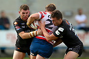 Bradford Bulls second row Cameron Smith (37) in the tackle during the Kingstone Press Championship match between Oldham RLFC and Bradford Bulls at Bower Fold, Oldham, United Kingdom on 13 August 2017. Photo by Simon Davies.
