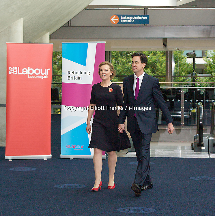 Ed Miliband with wife Justine Miliband arriving for speech during the Labour Party Conference in Manchester,October 2 2012, Photo by Elliott Franks / i-Images