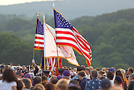 Highland, New York - People gather at the center of the Walkway over the Hudson for a Memorial Day ceremony on May 27, 2012.