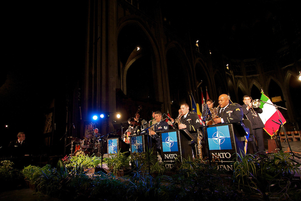 The SHAPE Band plays at the St. Waudru Catherdal in Mons during the 1 Dec Charity concert.