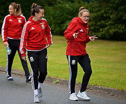 CARDIFF, WALES - Friday, August 19, 2016: Wales' Natasha Harding and Rachel Rowe during a pre-match walk at the Vale Resort ahead of the international friendly match against Republic of Ireland. (Pic by David Rawcliffe/Propaganda)