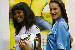 Miss Ghana Mimi Areme and Miss Uruguay  Eliana Oliveria- Gonnet at Miss World contestants from the quarter finals FIFA World Cup 2010 at AIPS glamour event on June 30, 2010 at Nelson Mandela Square in Sandton Convention Centre in Johannesburg. (Photo by Vid Ponikvar / Sportida)