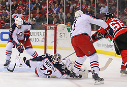 Feb 27, 2014; Newark, NJ, USA; New Jersey Devils right wing Jaromir Jagr (68) scores a goal on Columbus Blue Jackets goalie Sergei Bobrovsky (72) during the first period at Prudential Center.