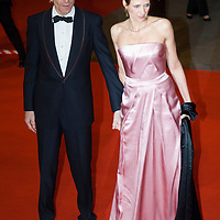 LONDON - FEBRUARY 10: Actor Daniel Day Lewis and Rebecca Miller arrive  at the Orange British Academy Film Awards at the Royal Opera House on February 10, 2008 in London, England.