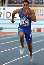 Simone Collio of Italy at the qualification of 60m men at the 2nd day of  European Athletics Indoor Championships Torino 2009 (6th - 8th March), at Oval Lingotto Stadium,  Torino, Italy, on March 6, 2009. (Photo by Vid Ponikvar / Sportida)