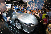 Seoul Motor Show 2005 at Korea International Exhibition Center (KINTEX). The big international players are exhibiting alongside local auto makers and their cars are a big hit with Koreans, here a BMW prototype of a hydrogen fuelled car.