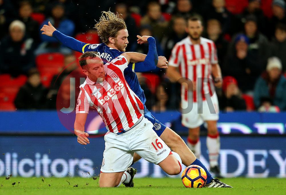 Charlie Adam of Stoke City tackles Tom Davies of Everton - Mandatory by-line: Matt McNulty/JMP - 01/02/2017 - FOOTBALL - Bet365 Stadium - Stoke-on-Trent, England - Stoke City v Everton - Premier League