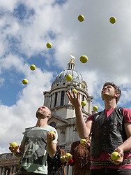 © Licensed to London News Pictures. 19/05/2015. Gandini Juggling performing. London, UK. Launch of The Royal Greenwich Festivals 2015 at the Old Royal Naval College, Greenwich.  Photo credit : Bettina Strenske/LNP
