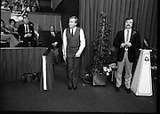 The Benson and Hedges .Irish Masters Snooker..1984..28.03.1984..03.28.1984..28th March 1984..The championship was held at Goffs,Co Kildare. All the top names in snooker took part..Steve Davis,Jimmy White,Eddie Charlton,.Tony Knowles,Dennis Taylor,Tony Meo,.Alex Higgins,Ray Reardon,.Cliff Thorburn,Terry Griffiths,.Bill Werbeniuk and Eugene Hughes..The eventual winner was Steve Davis who beat Terry Griffiths 9 -1 in the final..Image taken as Terry Griffiths is introduced to the audience before his meeting with Dennis Taylor..