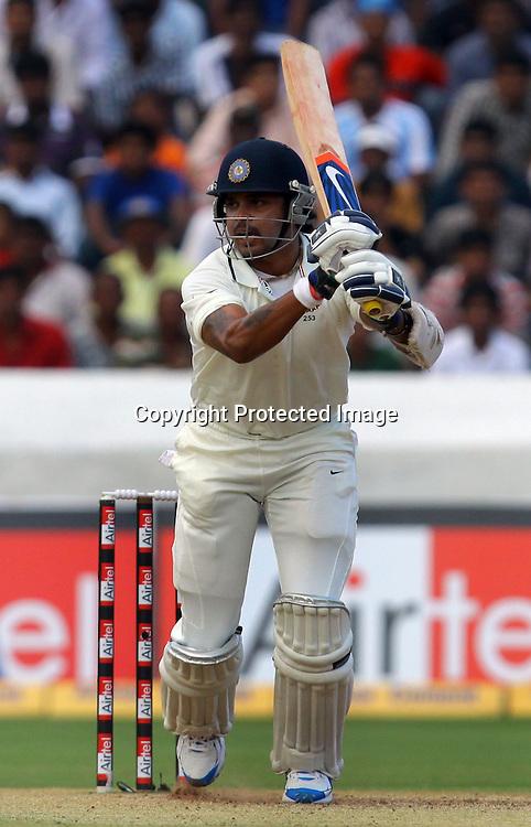 Indian batsman Sreesanth plays a  shot against New Zealand during the 2nd test match India vs New Zealand Played at Rajiv Gandhi International Stadium, Uppal, Hyderabad 14, November 2010 (5-day match)