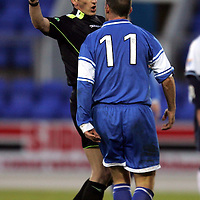 St Johnstone v Dundee....09.12.2006<br />Paul Sheerin argues with ref Mike Ritchie after his penalty claim was ignored<br /><br />Picture by Graeme Hart.<br />Copyright Perthshire Picture Agency<br />Tel: 01738 623350  Mobile: 07990 594431